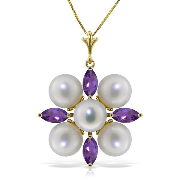 14k Solid Gold Clustered Pearls & Amethyst Necklace