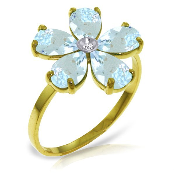 14K Solid Gold 2.2ct Aquamarine& Diamond Flower Ring