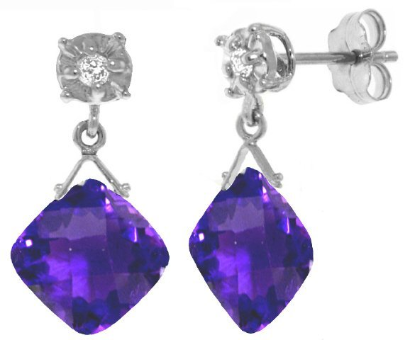 14k Gold 17.50ct Cushion Amethyst Earrings