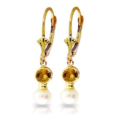 Freshwater 4.0ct Pearl & 1.20ct Citrine Earrings in 14k
