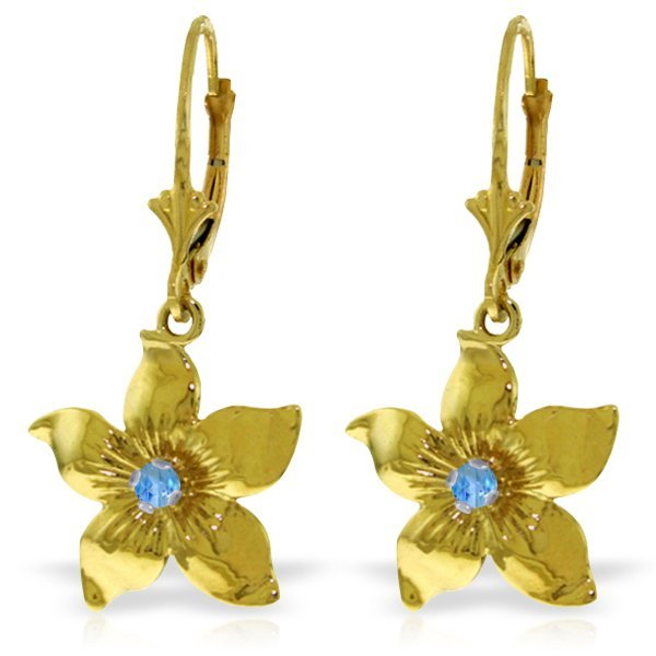 14K Solid Gold .20ct Blue Topaz Flower Earring