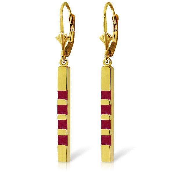 14K Solid Gold 0.70ct Ruby Leverback Bar Earring