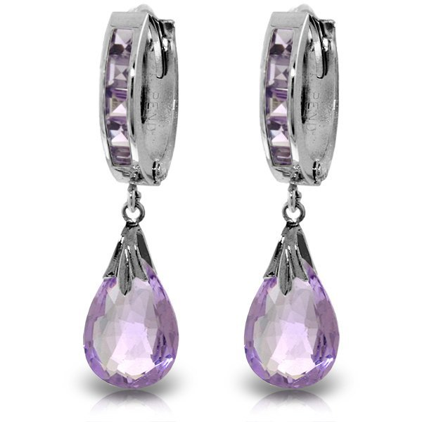 14K White Gold 6.00ct & .85ct Amethyst Hoop Earring