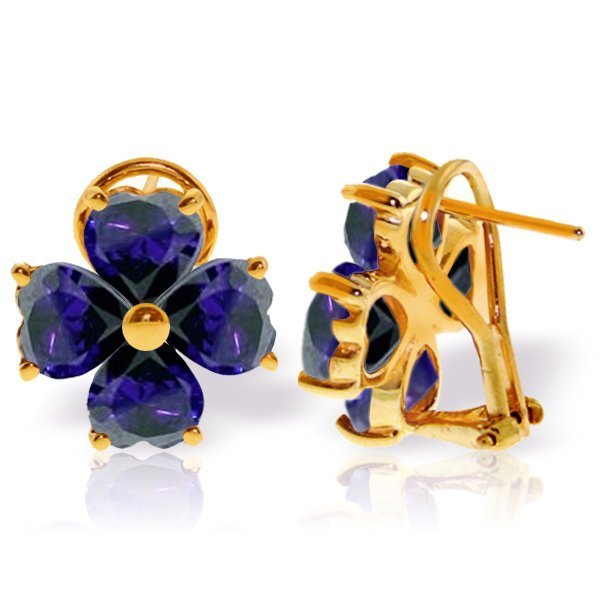 14k Yellow Gold 7.20ct Sapphire French Clip Earrings