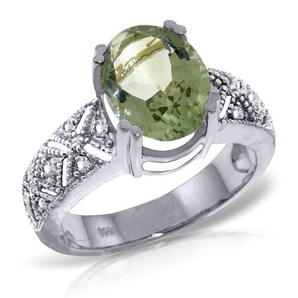 14k WG 3.0ct Green Amethyst & Diamond Ring