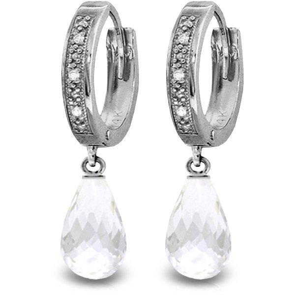 14K White Gold 4.5ct White Topaz & Diamond Earring