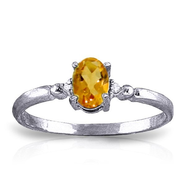 14k Solid Gold 0.45ct Citrine & Diamond Ring