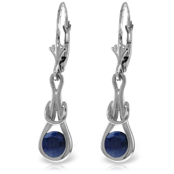 14k White Gold 1.30ct Sapphire Eternity Earrings