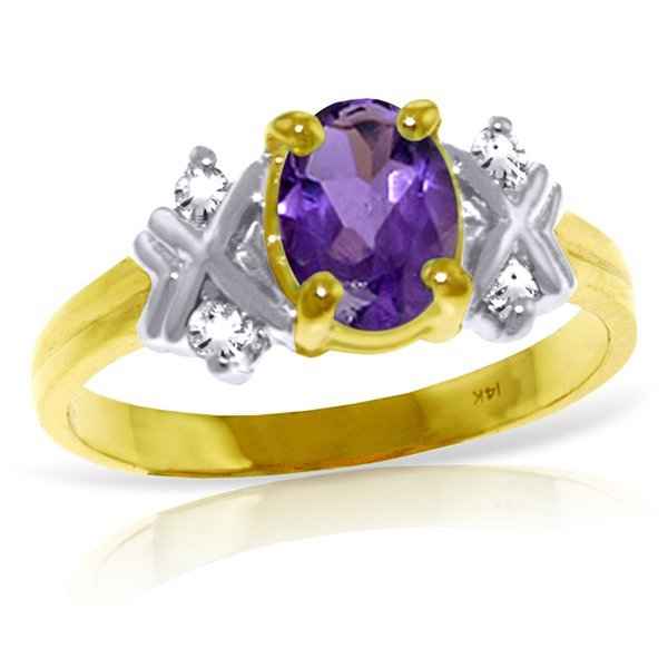 14k YG 0.85ct Amethyst & Diamond Ring