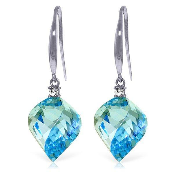 14k WG 27.80 Spiral Blue Topaz & Diamond Earrings