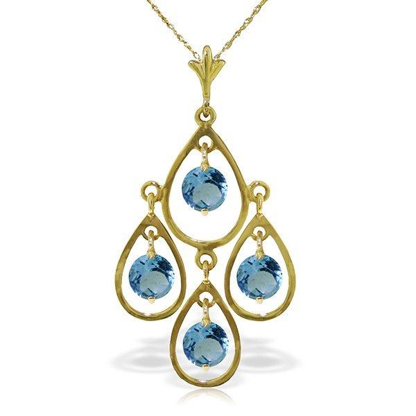 14K Solid Gold 1.20ct Round Blue Topaz Necklace