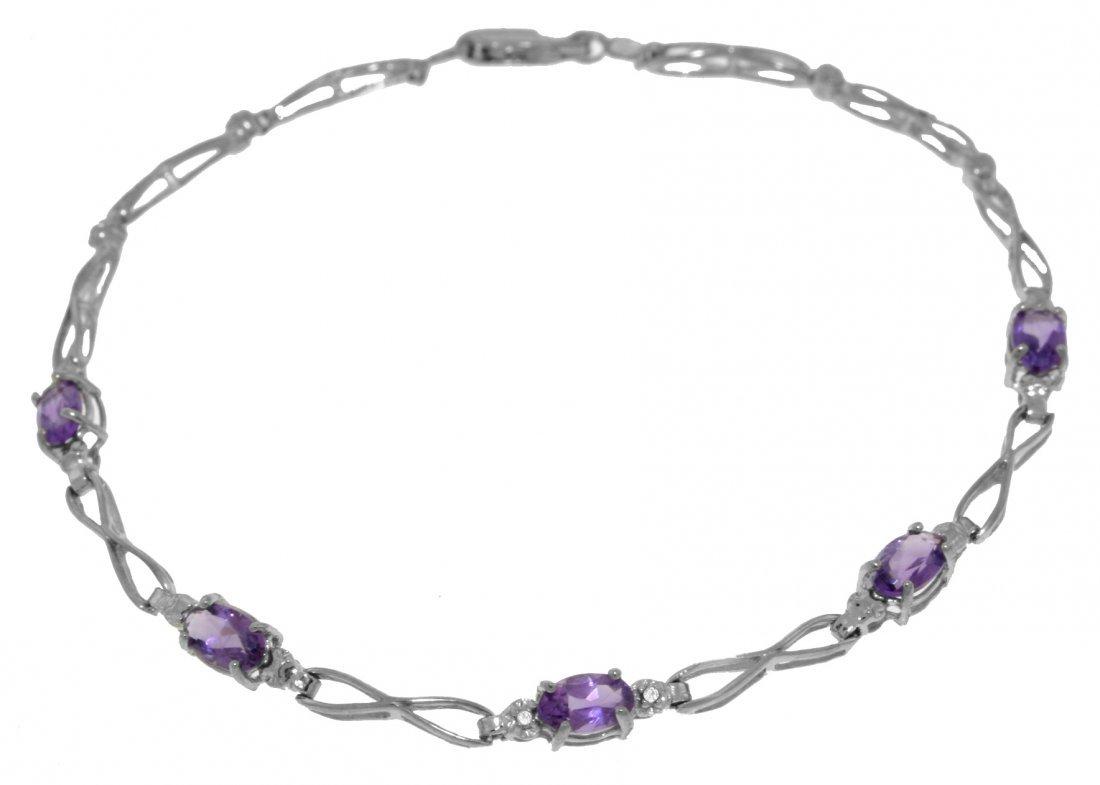 1.15ct Amethyst Bracelet w/ Diamond Accent in 14k WG