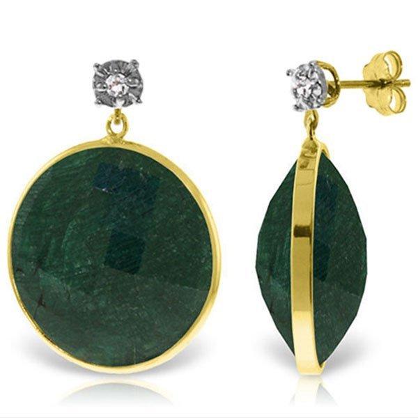 14K Solid Gold 46.0ct Corundum & Diamond Stud Earring