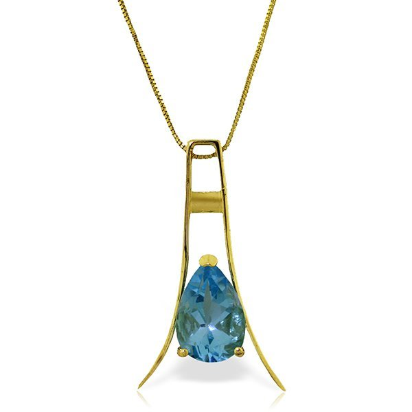 14K YELLOW GOLD 1.50ct BLUE TOPAZ NECKLACE