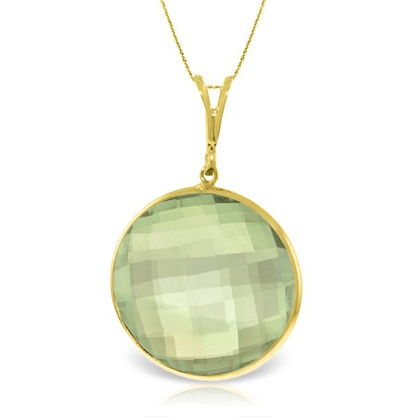 14K Solid  Gold Necklace with 18.00ct Green AMETHYST