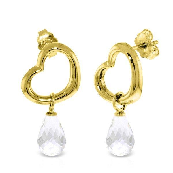 14K Solid Gold 4.50ct White Topaz Dangle Heart Earring