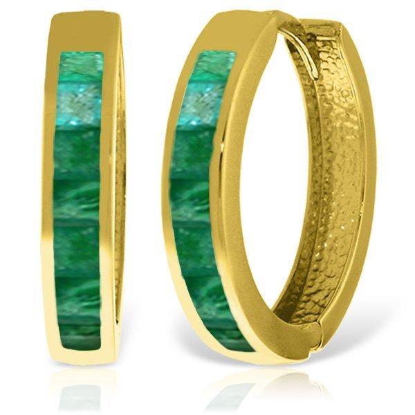 14K Solid Gold 1.85ct Emerald Huggie Earring