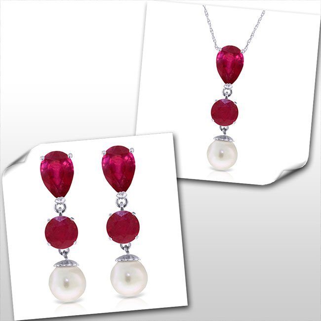 14K White Gold Set of Ruby & Pearl Fine Jewelry (2)