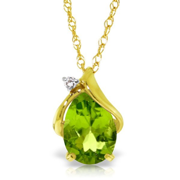 2.13ct 14k Solid  Gold Necklace Diamond Peridot