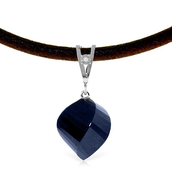 14K White Gold 15.25ct Sapphire & Diam. Leather