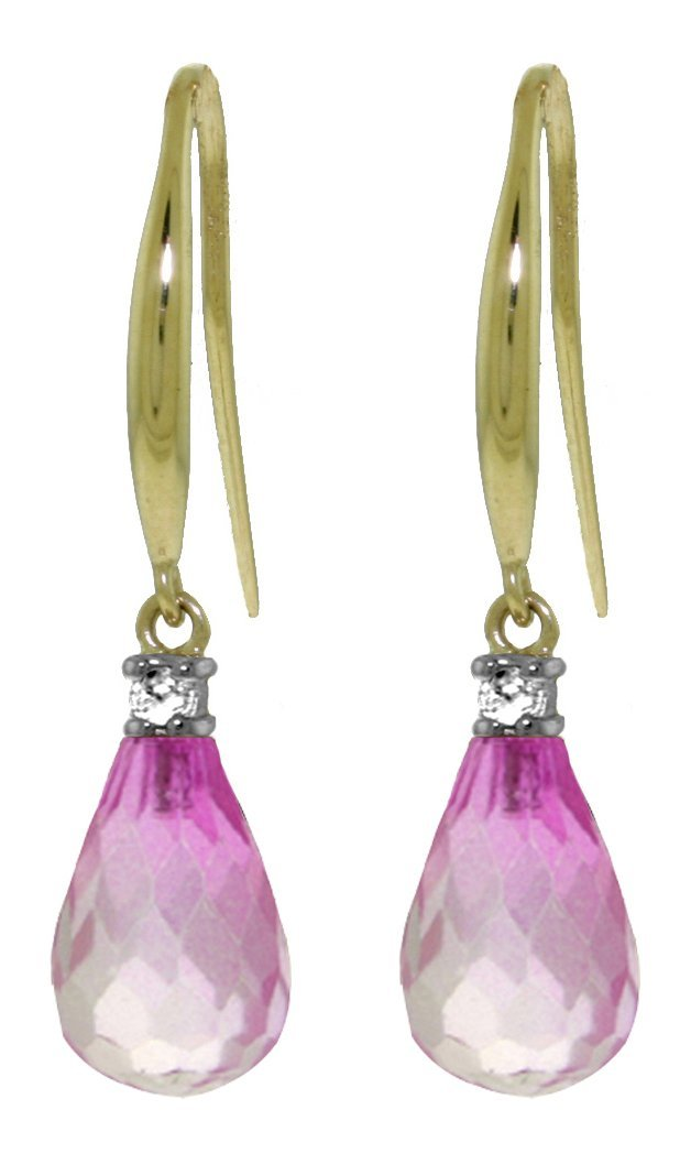 14k Yellow Gold 4.50ct Pink Topaz Fish Hook Earrings