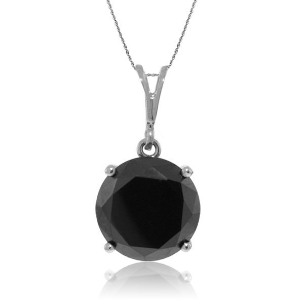 14K White Gold NECKLACE WITH 3.50ct BLACK DIAMOND