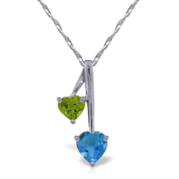 14k Solid Gold Peridot & Blue Topaz Hearts Necklace