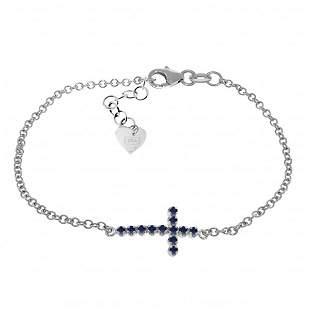 14K White Gold .30ct Round Sapphire Cross Bracelet