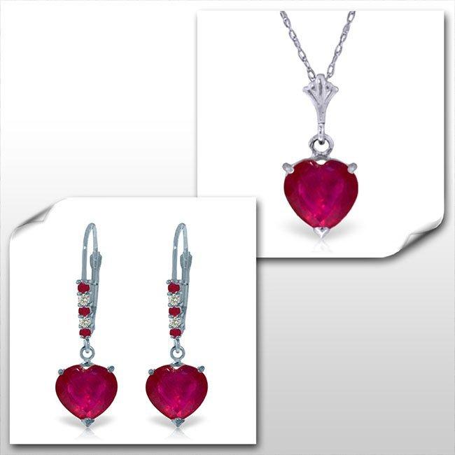 14K White Gold Set of Heart Ruby w/ Diamond Fine