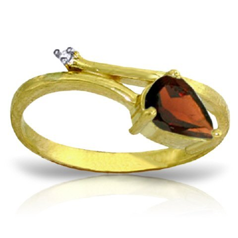 14k Solid Gold 0.82ct Garnet & Diamond Ring
