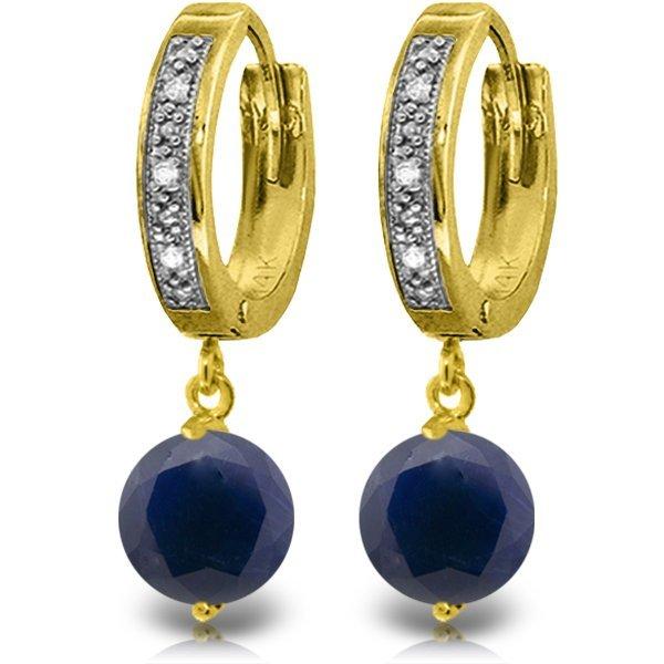 14K Solid Gold 3.3ct Sapphire & Diamond Hoop Earring