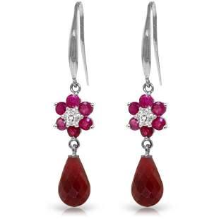 14k WG Rubies & Diamond Fish Hook Earrings