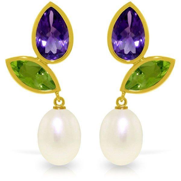 14k Gold Amethyst, Peridot and Pearl Earrings