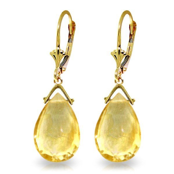 14k Yellow Gold 10.20ct Citrine Drop Earrings