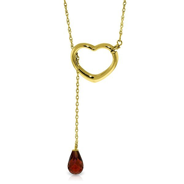 14K Solid Gold 2.25ct Drop Garnet Heart Necklace