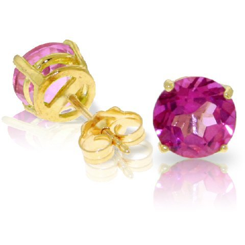 3.10ct Pink Topaz Stud Earrings in 14k Yellow Gold
