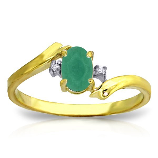 14K Solid Gold .50ct Oval Emerald & .01ct Diamond Ring