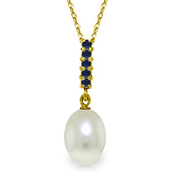 14K Solid Gold 4.0ct Pearl & .20ct Sapphire Drop