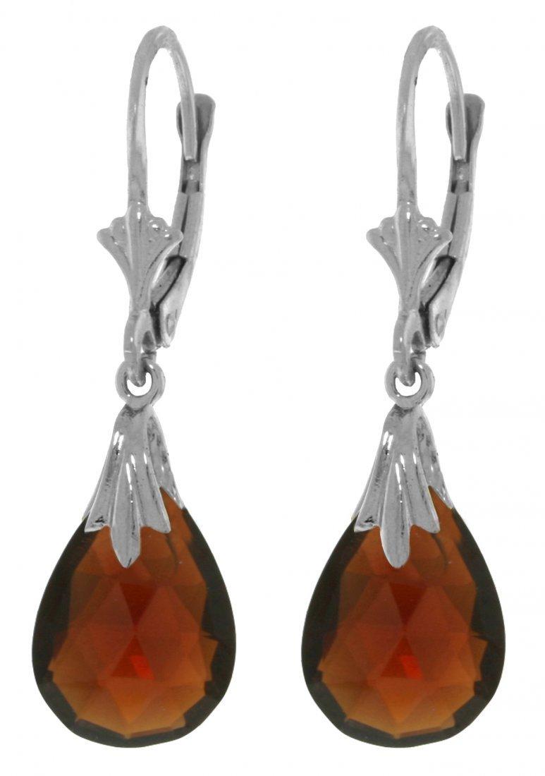14k White Gold 6.0ct Garnet Dangle Earrings