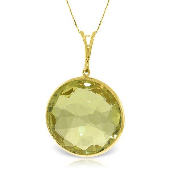 14K Solid  Gold Necklace with 17.00ct Lemon Quartz