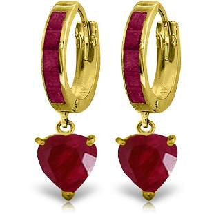 14K Solid Gold 2.8ct Heart .85ct Rubies Earring