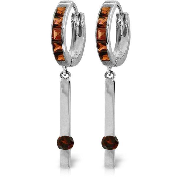 14K White Gold .80ct & .55ct Garnet Dangle Earring