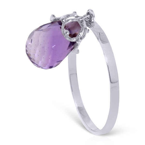 14k Solid Gold 3.0ct Dangle Amethyst Ring