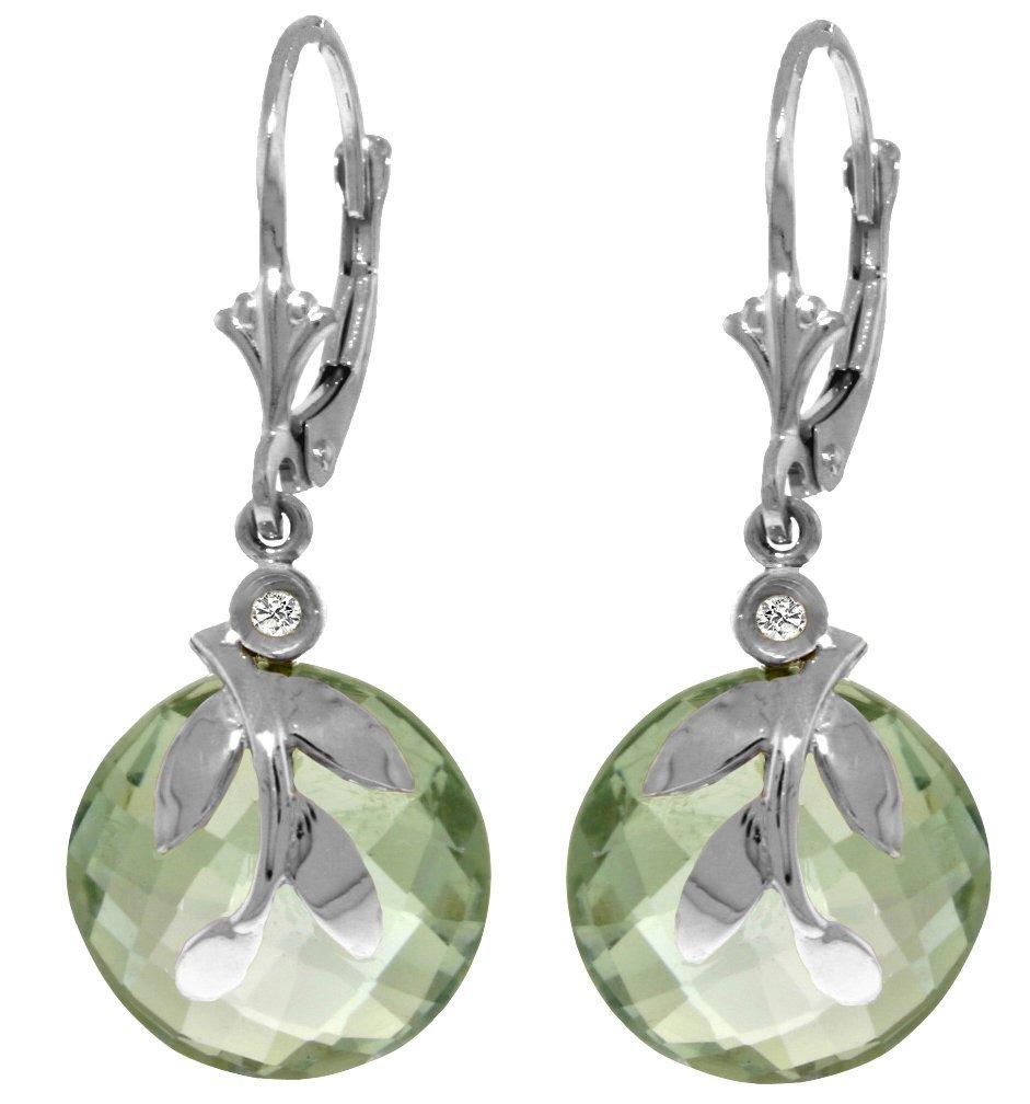 14k WG 10.60ct Green Amethyst Earring w/ Diamond