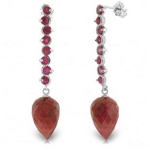 14K White Gold 26.10ct & 3.10ct Ruby Drop Earring