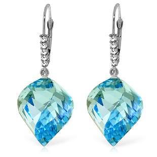 27.85ct Spiral Blue Topaz Earrings in 14k White Gold