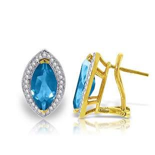 4.8ct 14k Solid Gold Blue Topaz Diamond Earrings