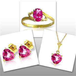 14K Solid Gold Set of Pink Topaz Fine Jewelry (3)