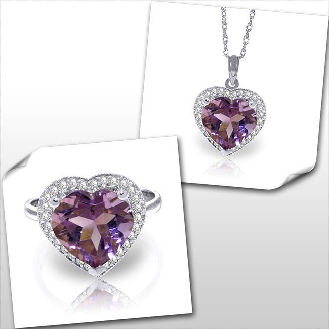 14K White Gold Set of Amethyst & Diamond Fine Jewelry