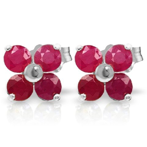 14k WG 1.15ct ROUNDS Ruby Flower Stud Earrings